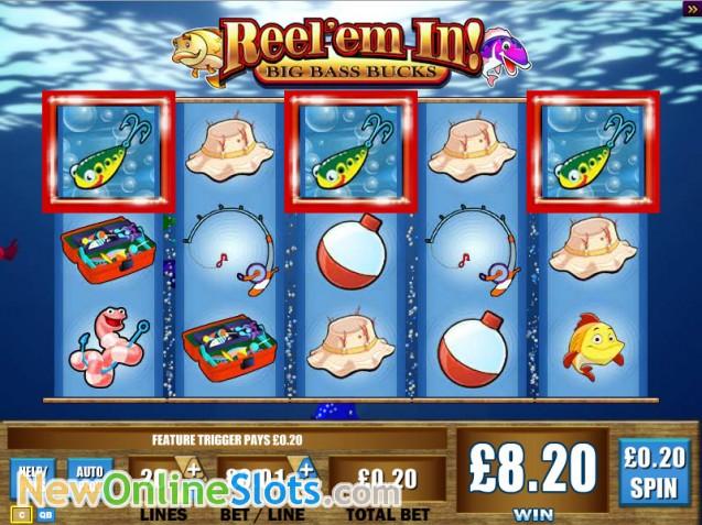 Reel 39 em in big bass bucks slot by wms for Reel em in fishing slot machine